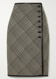 Saint Laurent Leather-trimmed Prince Of Wales Checked Wool Skirt