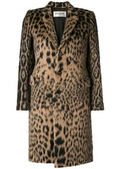 Saint Laurent leopard jacquard single-breasted coat