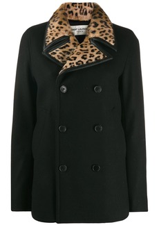 Saint Laurent leopard print collar double-breasted coat