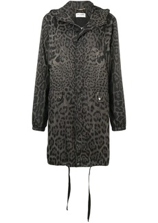 Saint Laurent leopard print hooded parka