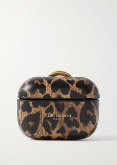 Saint Laurent Leopard-print Leather Airpods Pro Case