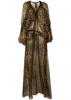 Saint Laurent leopard print maxi dress
