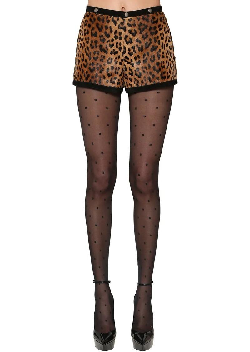 Saint Laurent Leopard Print Pony Skin Shorts