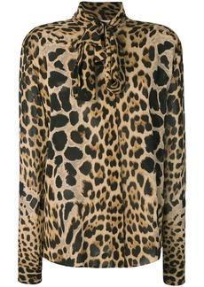 Saint Laurent leopard print pussybow shirt