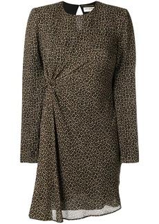 Saint Laurent leopard print ruched dress