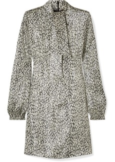 Saint Laurent Leopard-print Silk-blend Lamé Mini Dress