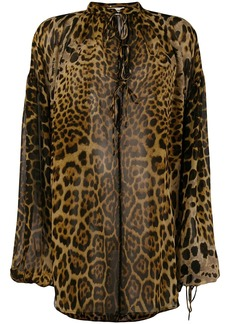 Saint Laurent Leopard Print Silk Blouse