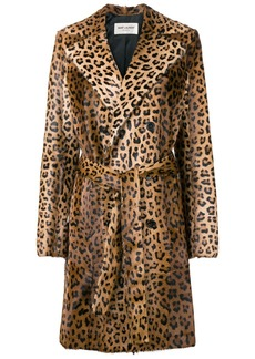 Saint Laurent leopard print trench coat