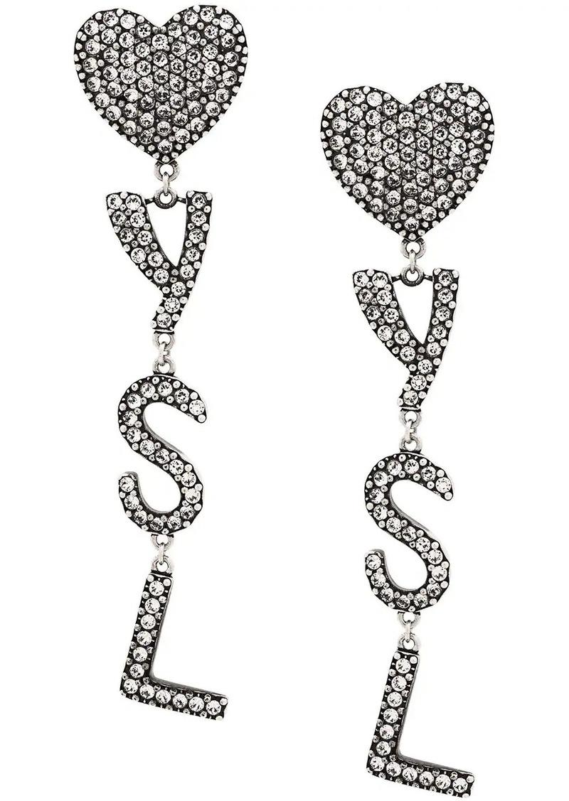 Saint Laurent crystal embellished logo earrings