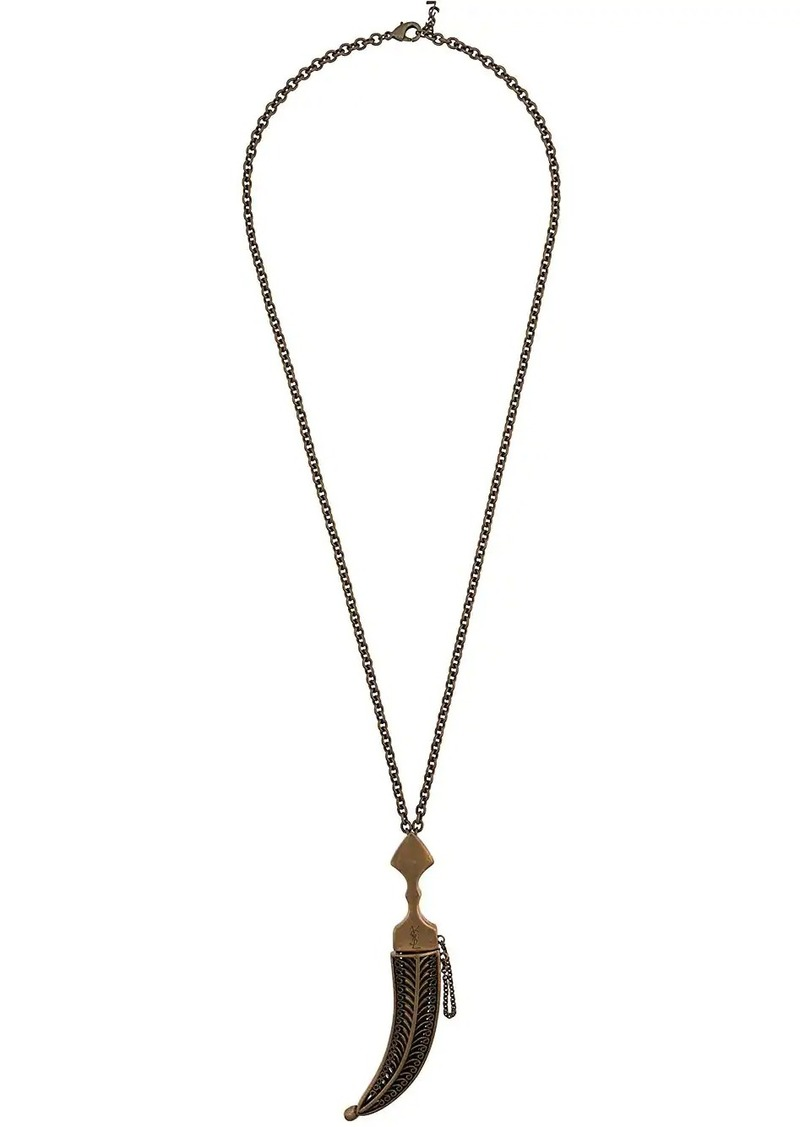 Saint Laurent Logo embossed dagger pendant necklace