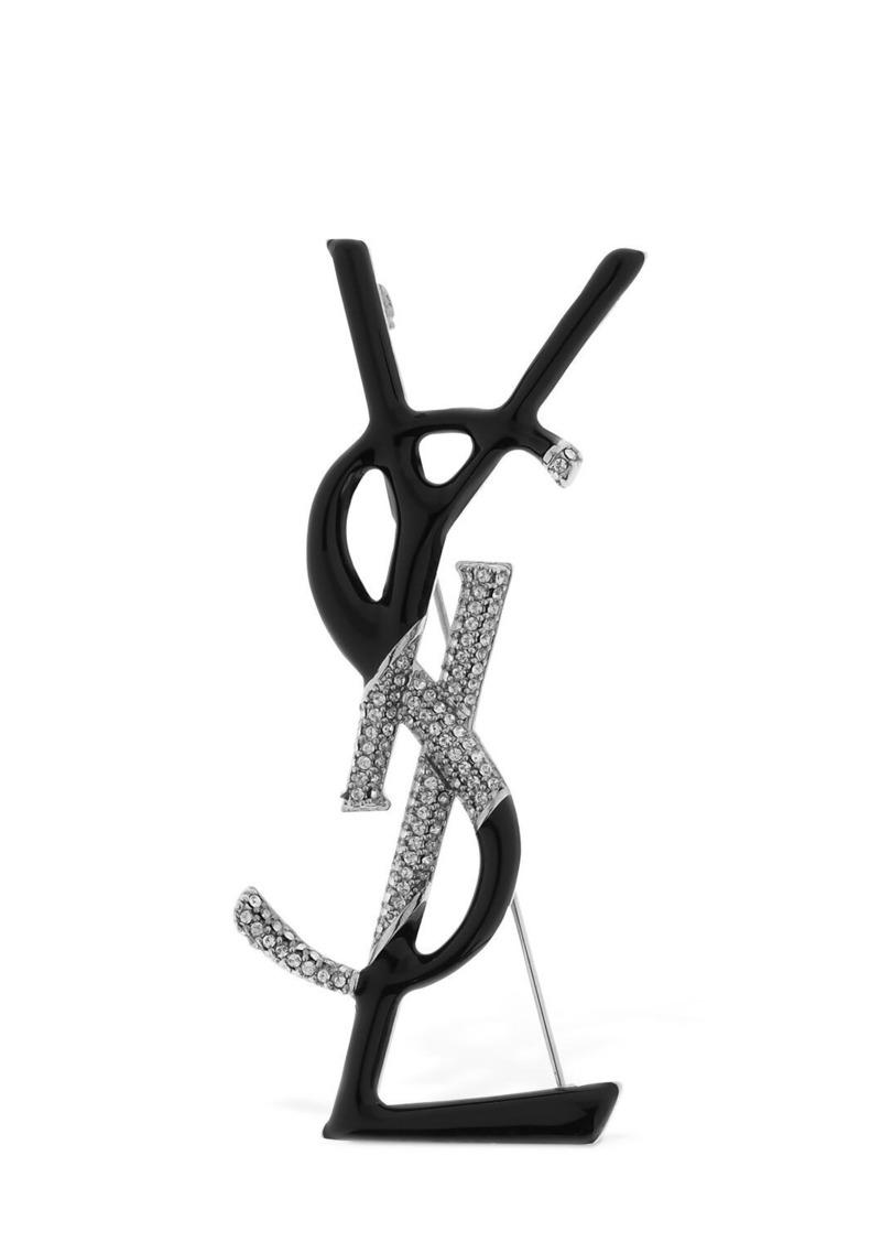 Saint Laurent Logo Enameled Brooch W/ Crystals