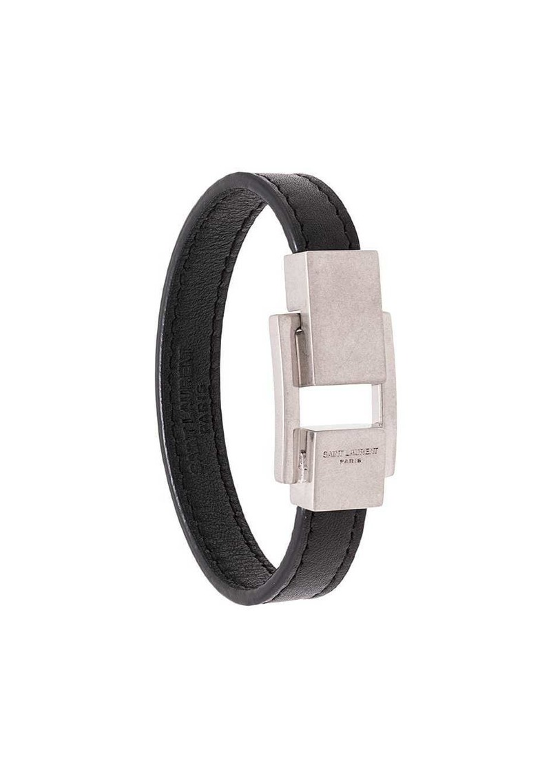 Saint Laurent logo-engraved buckle bracelet