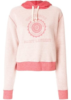 Saint Laurent logo patch hooded sweatshirt