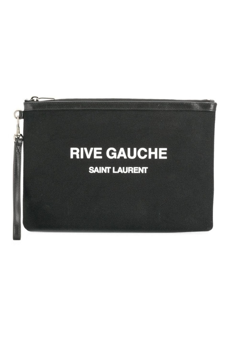 Saint Laurent logo print clutch