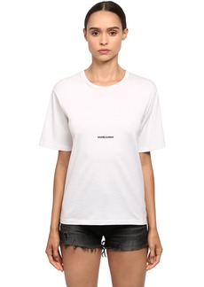 Saint Laurent Loose Logo Print Cotton Jersey T-shirt