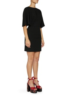 Saint Laurent Loose Sleeve V-Back Sheath Dress