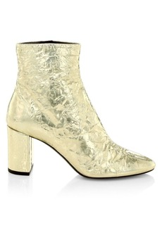 Saint Laurent Lou Crinkle Metallic Ankle Boots