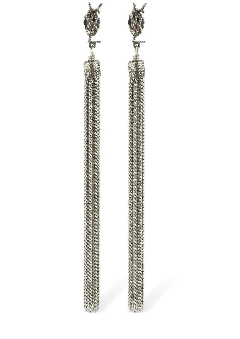 Saint Laurent Loulou Bo Chain Fringe Earrings