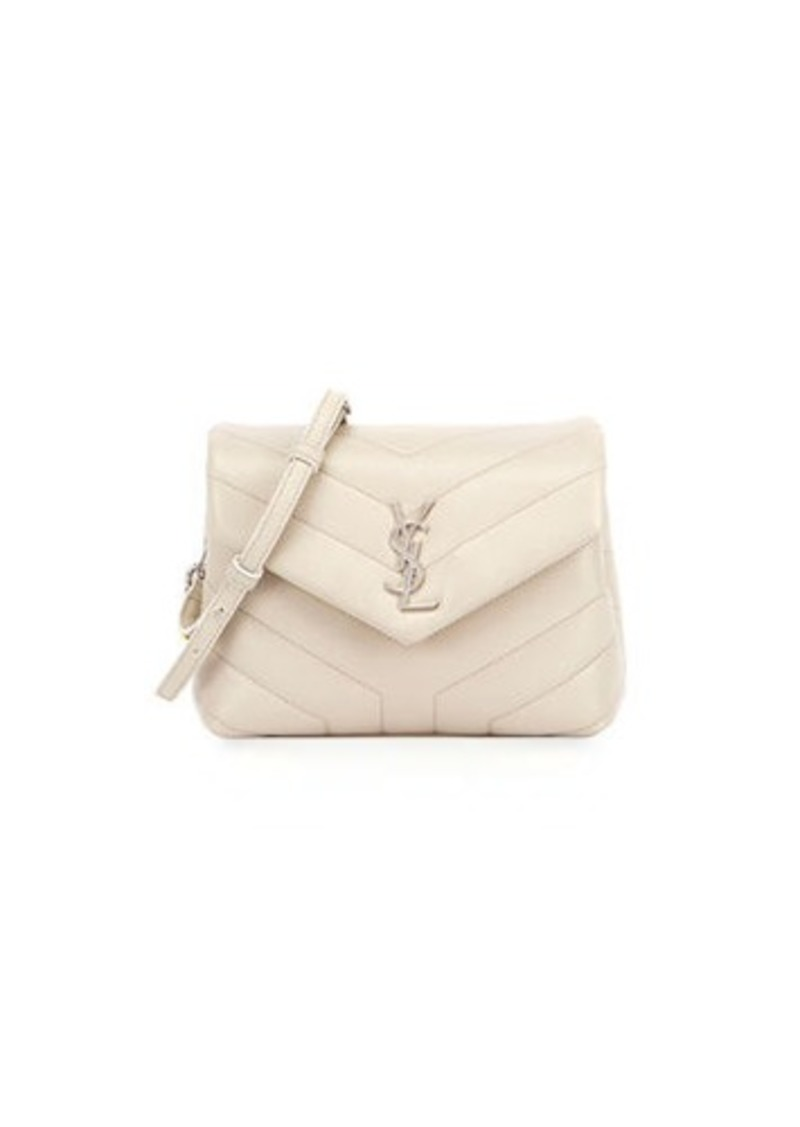d6f229cac98 Saint Laurent Loulou Monogram YSL Mini V-Flap Calf Leather Crossbody Bag - Nickel  Oxide