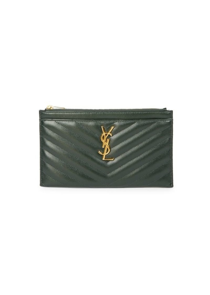 Saint Laurent Monogram Matelassé Leather Zip Pouch