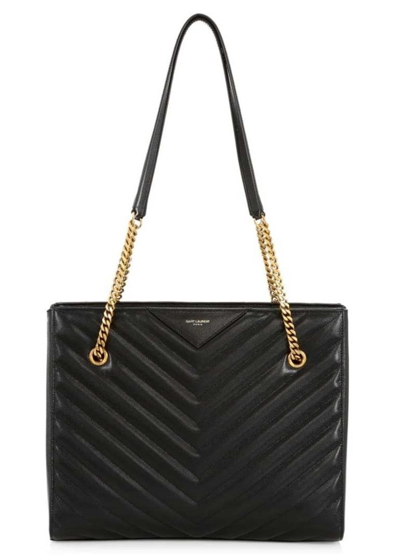 Saint Laurent Medium TribecaMatelassé Leather Tote