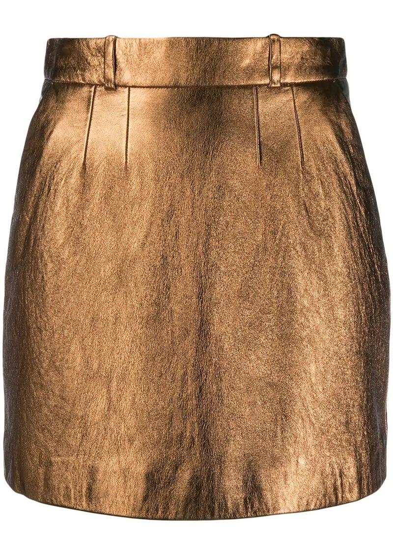 Saint Laurent metallic effect fitted skirt