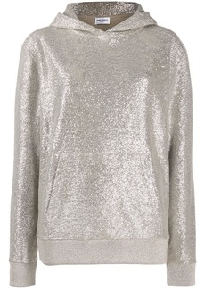 Saint Laurent metallic knit hoodie