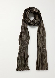 Saint Laurent Metallic Plissé Silk-blend Scarf