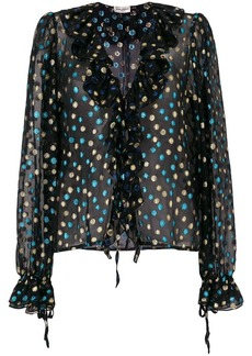 Saint Laurent metallic polka dot ruffle blouse