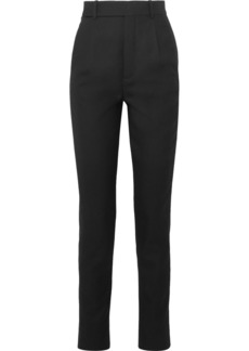 Saint Laurent Metallic-trimmed Wool-twill Straight-leg Pants