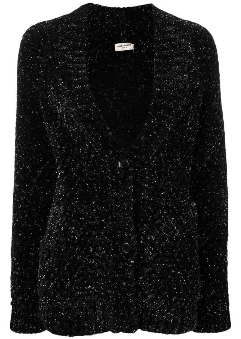 Saint Laurent metallic v-neck cardigan
