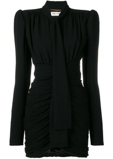 Saint Laurent micro-pleated mini dress