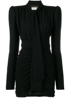 Saint Laurent micro-pleated mini dress