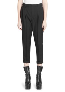Saint Laurent Mid-Rise Pleat Front Pants