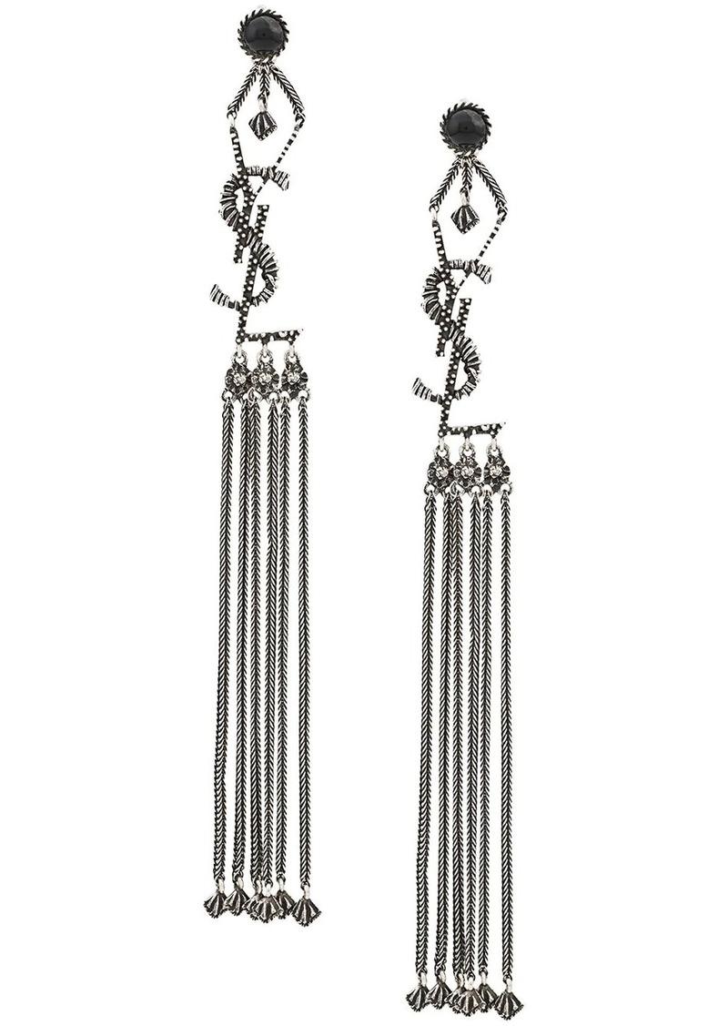 Saint Laurent monogram drop down earrings