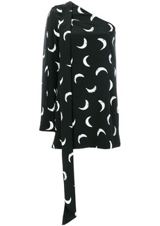 Saint Laurent moon print one shoulder mini dress