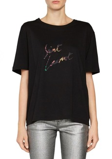 Saint Laurent Multi Leopard Logo T-Shirt