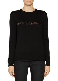 Saint Laurent Multibeaded Logo Knit Sweater