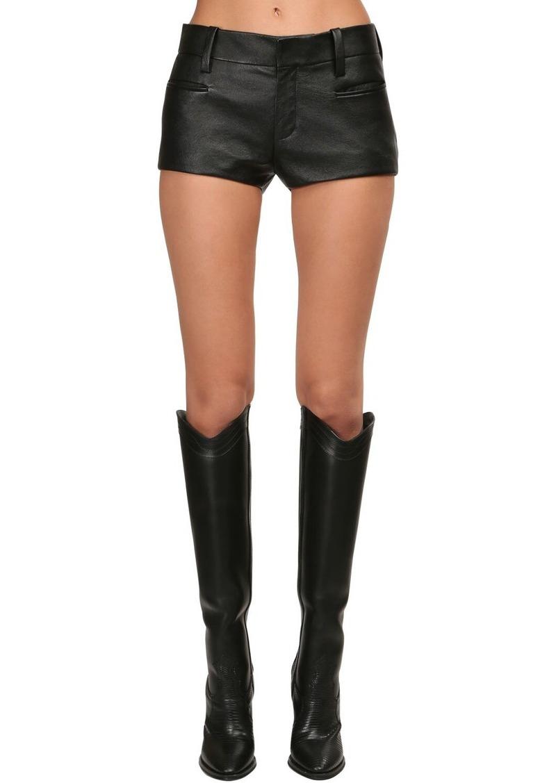 Saint Laurent Nappa Leather Mini Shorts
