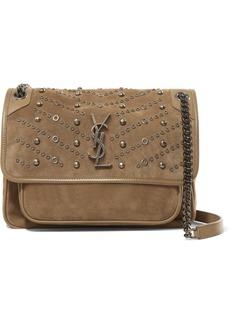 Saint Laurent Niki Medium Embellished Suede Shoulder Bag