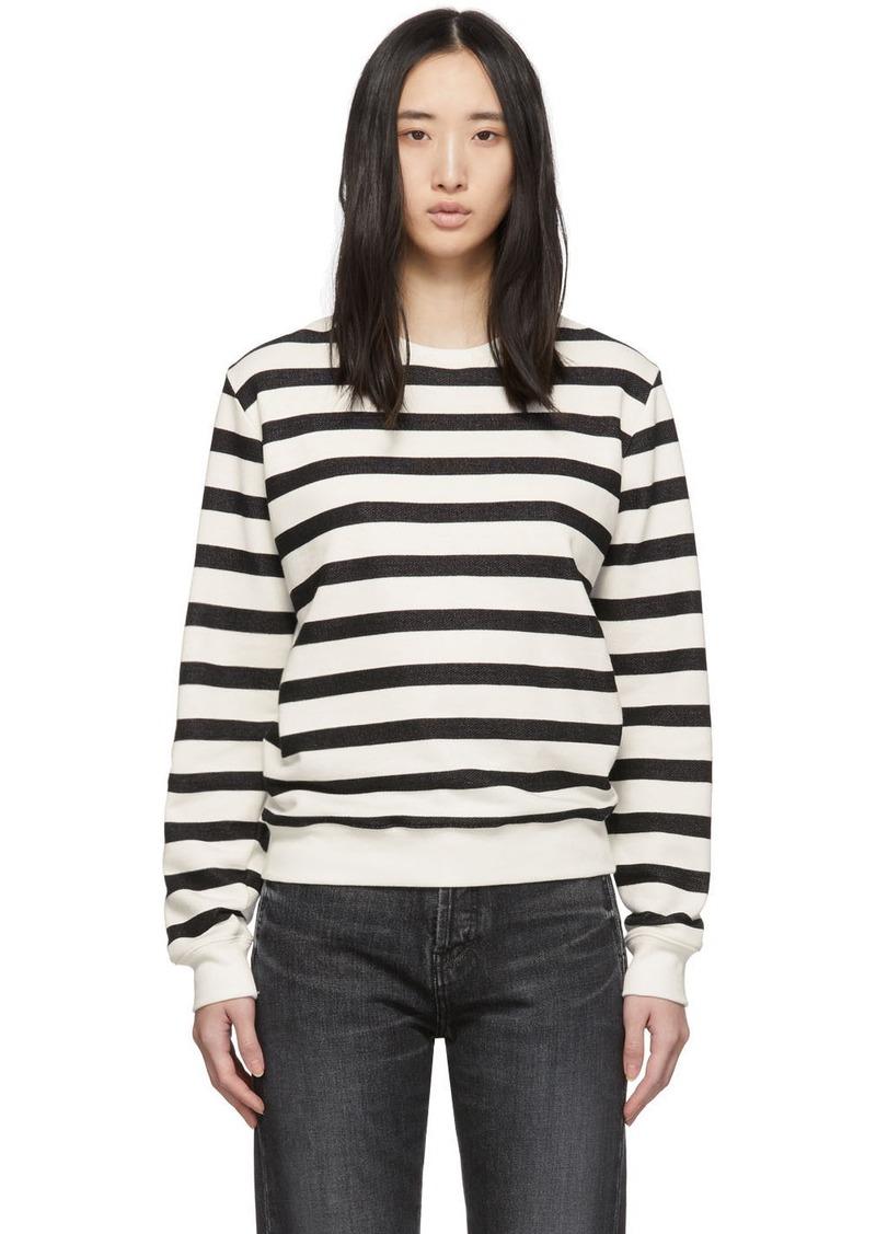 Saint Laurent Off-White & Black Striped Marine Sweatshirt