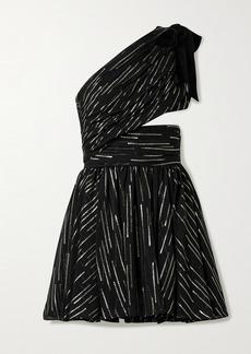Saint Laurent One-shoulder Cutout Metallic Fil Coupé Silk-blend Crepon Mini Dress