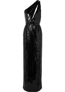 Saint Laurent One-shoulder Cutout Sequined Crepe Gown