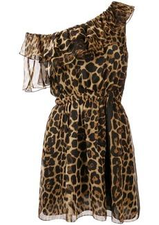 Saint Laurent one-shoulder leopard print dress