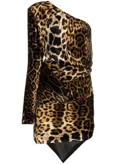 Saint Laurent one shoulder leopard print dress