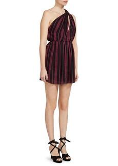 Saint Laurent One-Shoulder Star Stripe Dress