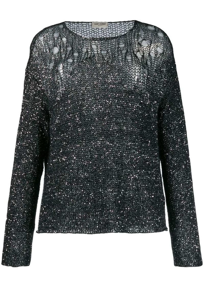 Saint Laurent open-knit sequin embellished sweater