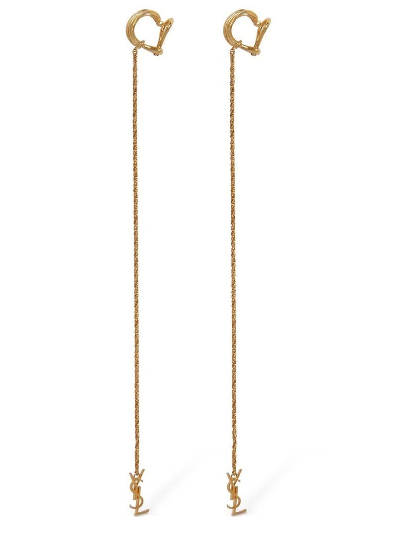 Saint Laurent Opyum Monogram Pendant Earrings