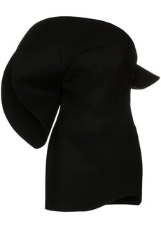 Saint Laurent oversized flounce wool bustier dress