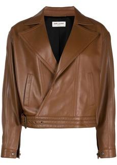 Saint Laurent oversized leather biker jacket